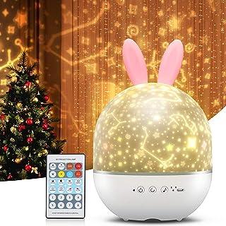 Projecteur Star Night Light pour bébé, cadeau jouets pour enfants, lampe LED rotative à 360 °avec télécommande, d'éclairag...