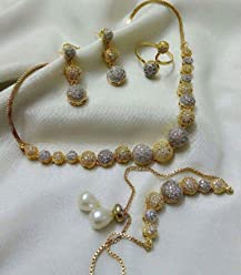 JDX White Plated Necklace With Drop Earrings And Set or Women