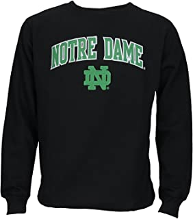 NCAA Mens Notre Dame Fighting Irish Pullover Fleece Crew Sweatshirt, XXL Black