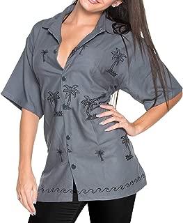 LA LEELA Women's Classic Swim Hawaiian Shirt Short Sleeves Button Up Embroidered