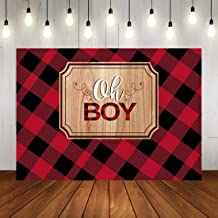 Oh Boy Baby Shower Backdrop Lumberjack Baby Shower Photo Backdrops Rustic Red and Black Plaid Baby Shower Party Banner Decorations Photo Booth Props 7x5ft