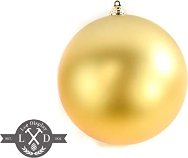EST. LEE DISPLAY L D 1902 Christmas Ball Ornaments Large Hanging Outdoor Shatterproof Plastic Tree Decorations Holidays Party Ceiling (Matte Gold, 8IN)