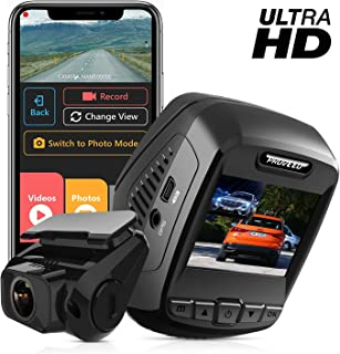 Pruveeo T7-Dual 2880 x 2160P UHD Dash Cam Front and Rear, 4K Built in WiFi GPS, Dash Camera for Cars, 2.4 inch LCD, 170 Degree Wide Angle, Supercapacitor, WDR,
