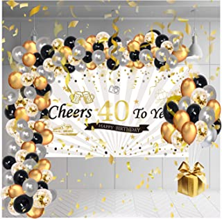 40th Women Men Birthday Decorations, Backdrop Decor With Balloons Set, 1970 Happy Black And Gold Female Banner For Unisex,...