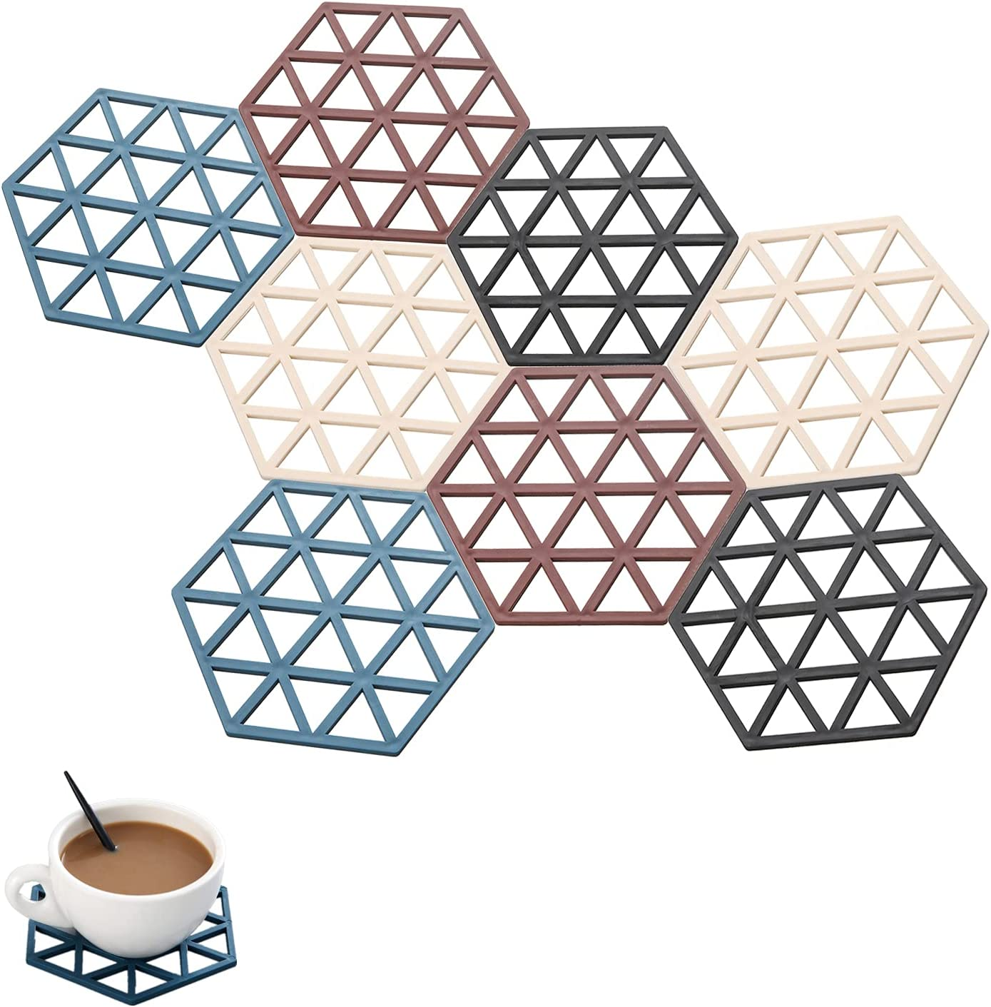 Logentic 8 Pack Silicone Trivet Mats Food Grade Hexagonal Multipurpose Lattice Trivet Set Non-slip Heat Insulation Suitable for Dishes Cups Pots Table and Kitchen Counter Decoration