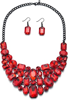 Red Bubble Crystal Cluster Black Chain Bib Choker Collar Statement Pendant Necklace Earrings Set