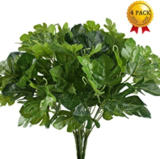 Artificial Plants, Nahuaa 4PCS UV Protected Silk Tropical Palm Leaves Fake Greenery Shrubs Faux Bush Bundle Indoor Outdoor Home Kitchen Office Windowsill Table Centerpieces Arrangements Spring Decorat