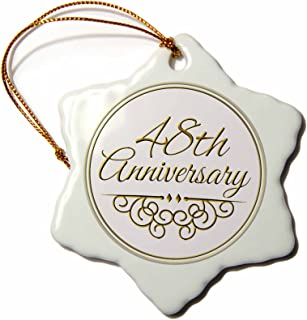 3dRose ORN_154490_1 48Th Celebrating Wedding Anniversaries 48 Years Married Together Snowflake Ornament, Porcelain, 3-Inch