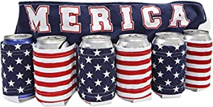 Independence Day Themed Beer Belt, Bottle Can Holder Drink Holder Beverage Belt for 6 Cold Beers Oxford Cloth Drink Belt with Adjustable Waist Strap Big Zipper Pocket for Parties, Camping(A)