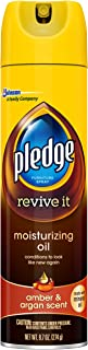 Pledge Moisturizing Oil Spray, Amber & Argan Scent - Nourishes, Protects and Revitalizes Furniture (1 Aerosol Spray), 9.7 oz