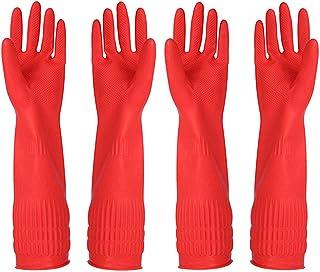 دستکش تمیزکننده لاستیکی دستکش ظرفشویی آشپزخانه 2 جفت و پارچه تمیز کننده 2 بسته ای ، ضد آب قابل استفاده مجدد. (کم اهمیت)
