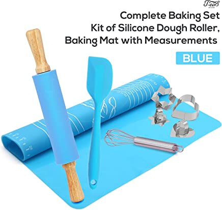 Non-Stick Rolling Pin and Pastry Mat Set: Combo Kit of Silicone Dough Rollers, Reusable Kneading Mat with Measurements, and 1 Stainless Steel Baking Cookie Cutters, and Stainless Steel Whisks, Blue