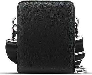 Luckycoin Mens Bag Leather Slim Messenger Shoulder Bag Crossbody for Men Satchel Travel Work Business School Mini Bags - Pebble Black