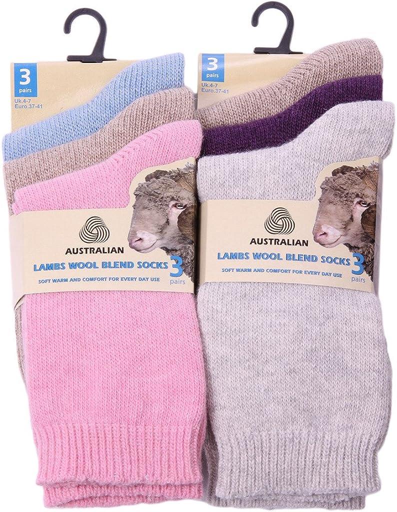 3-12 PAIRS LADIES AUSTRALIAN LAMB WOOL BLEND WARM WINTER OUTDOOR SOCKS UK4-7 LOT
