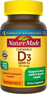 Nature Made Vitamin D3 1000 IU (25mcg) Chewable Tablets, 120 Count for Bone Health