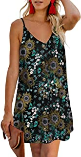 CILKOO Women's Floral Print Button Down Strappy Sleeveless Casual Flowy Mini Dress - Black - Large