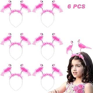 Flamingo Headbands, 6PCS Flamingo Party Head Bopper Pink Hair Hoop for Kids Women Girls Birthday Wedding Easter Summer Beach Hawaii Party