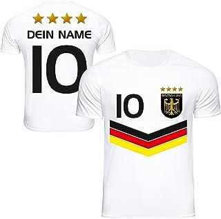 DE FANSHOP Deutschland Trikot mit GRATIS Wunschname  Nummer #DV2 2021/2022 EM/WM Weiss - Geschenk für Kinder Jungen Baby Fußball T-Shirt personalisiert