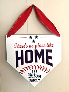 There's No Place Like Home Baseball Sign Personalized Sports Sign Home Plate Sign Custom Baseball Sign Boys Bedroom Baseball Decor Wood Sign Wall Art Decorative Home Desk Sign