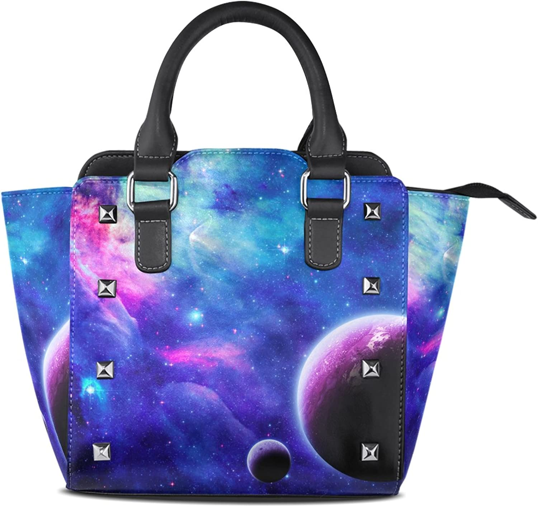 My Little Nest Women's Top Handle Satchel Handbag Mystic Galaxy Ladies PU Leather Shoulder Bag Crossbody Bag
