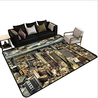 Indoor Floor mat,Melbourne Cityscape Modern Australia Architecture Buildings Metropolis Dramatic Sky 6'x7',Can be Used for Floor Decoration