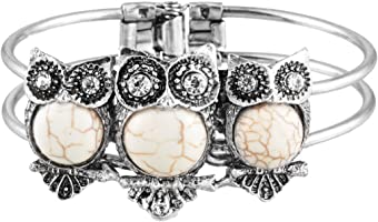 Loweryeah Women Bangle Boho Artificial Turquoise White Owl Vintage Bohemien Bracelet