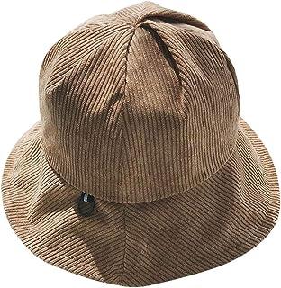 コーデュロイの漁師の帽子、秋と冬の女性の帽子の縁、バックルの鉢のキャップ (色 : Camel color)