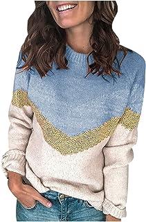 JXQ-N Otoño Invierno Cálido suéter O-cuello de las mujeres Costura a rayas Suéter de punto de manga larga Top