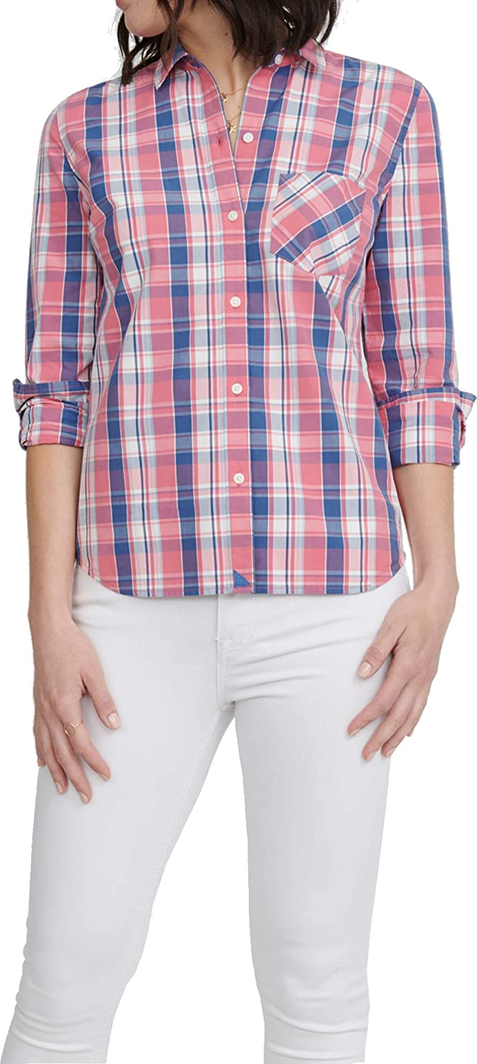 UNTUCKit LaConda – Women's Button Down Shirt Long Sleeve Blouse Red and Blue Plaid