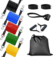 GOCART Latex Resistance Exercise Bands Include 5 Different Levels , Door Anchor, Foam Handles and Carrying Bag for Workout for Men and Women (Multicolour)