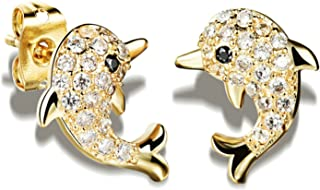 Gnzoe Women Cute Lovely Dolphin Earrings Cubic Zirconia Crystal Stud Earrings for Kids