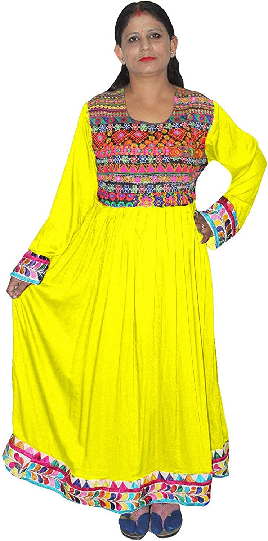 Lakkar Haveli Women's Long Dress Bohemian Frock Suit Wedding Wear Embroidered Casual Maxi Dress Yellow Color
