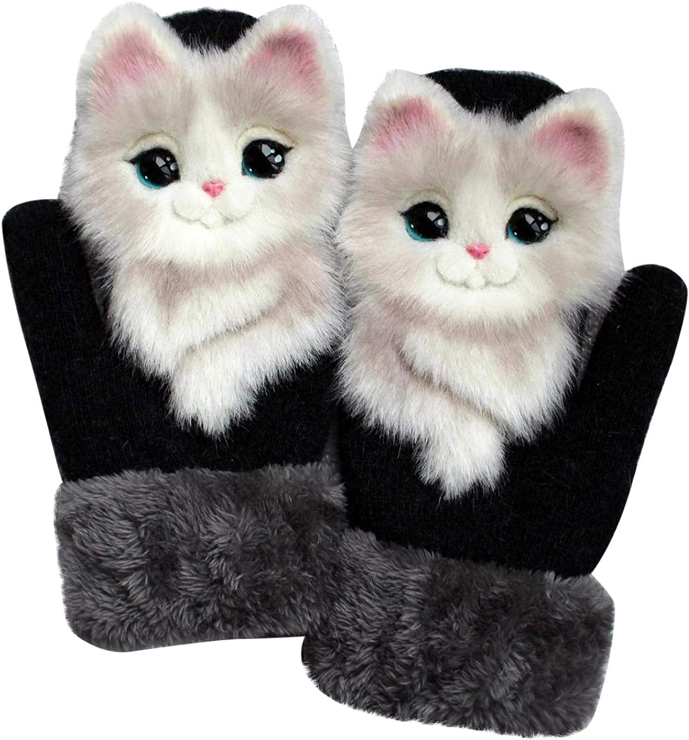 Ongmies Cartoon Animal Gloves Autumn and Winter Warm Mittens Gloves Plush Knitted Gloves for Men&Women Warm Winter Gift