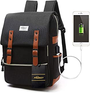 Vintage 15 Inch Laptop Backpack Canvas College School Backpack with USB Charging