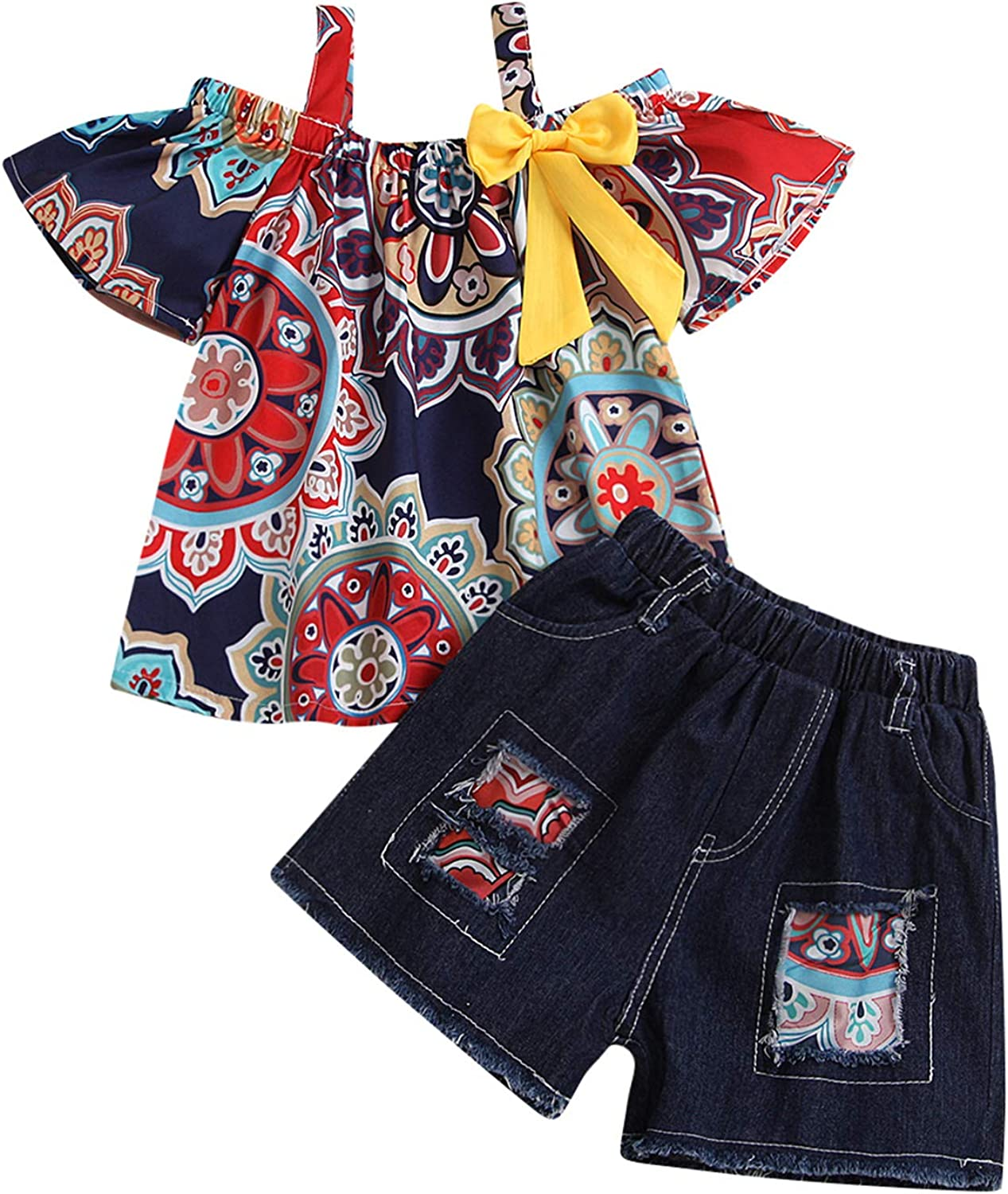 Toddler Two Piece Shorts Outfit Floral Bohemian Camisole Ruffle Crop Top Patchwork Denim Shorts Girls Summer Clothes