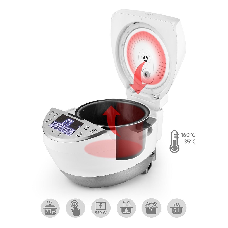 Klarstein Hotpot Robot de Cocina multifunción 23 en 1 (950 W, 5 L, Control táctil, Olla Lenta, Vapor, freidora, yogurtera, Horno, arrocera, 23 programas) - Blanco: Amazon.es: Hogar