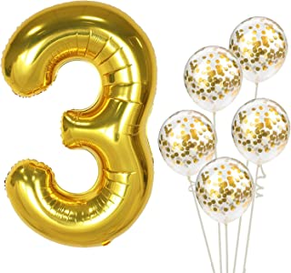 KatchOn Number 3 and Gold Confetti Balloons - Large, 40 Inch Foiil Gold Balloons   5 Gold Confetti Balloons, 12 Inch   3rd Birthday Party Decorations   Party Supplies for Anniversary Décor