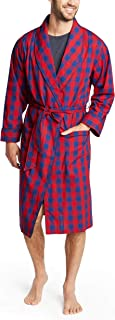 NAUTICA Men's Long Sleeve Lightweight 100% Cotton Shawl Collar Woven Robe, Red
