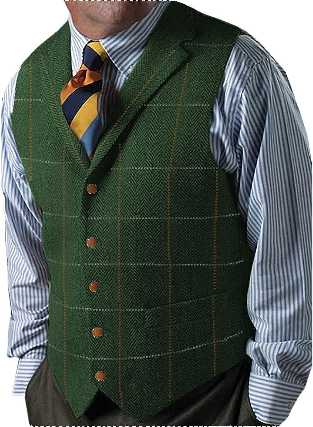 Fashion Men's Suits Vest Tweed Wool Plaid Herringbone Business Waistcoat for Wedding Groomsmen