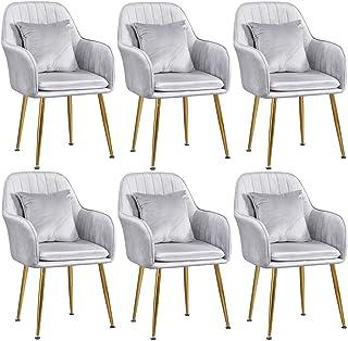 ZCXBHD Juego de sillas Comedor de 6 Piezas Sillas Cocina Terciopelo for Comedor con Respaldo Sillas Desayuno Patas Metal Dorado (6) (Color : Gray)