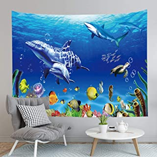 BJYHIYH Dolphin Tapestry Wall Hanging Sea Turtle Fish Tapestries for Bedroom Living Room Dorm Decoration(90.6