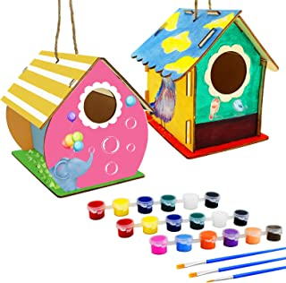 BRAINWAVE 2 Pack DIY Bird House Kit, Wooden Birdhouse Arts Build and Paint(IncludesPaints&Brushes), CraftsforKidsAge...