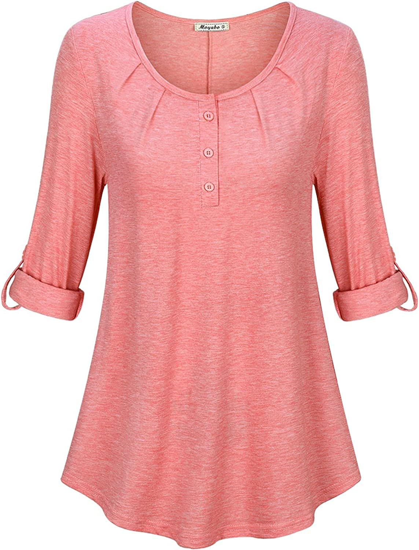 Moyabo Women's 3/4 Sleeve Round Neck Button Down Shirt Tops Casual Tunic Blouse Loose Shirts