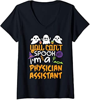 Womens Physician Assistant Halloween Costume Party Can't Spook Me  V-Neck T-Shirt