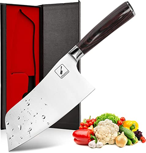 discount Cleaver online sale Knife, imarku chefs outlet online sale knife German Premium Carbon Stainless Steel Kitchen Knives, Chinese Vegetable Cleaver to Cut Vegetables and Meat with Ergonomic Handle - 7 inches outlet sale