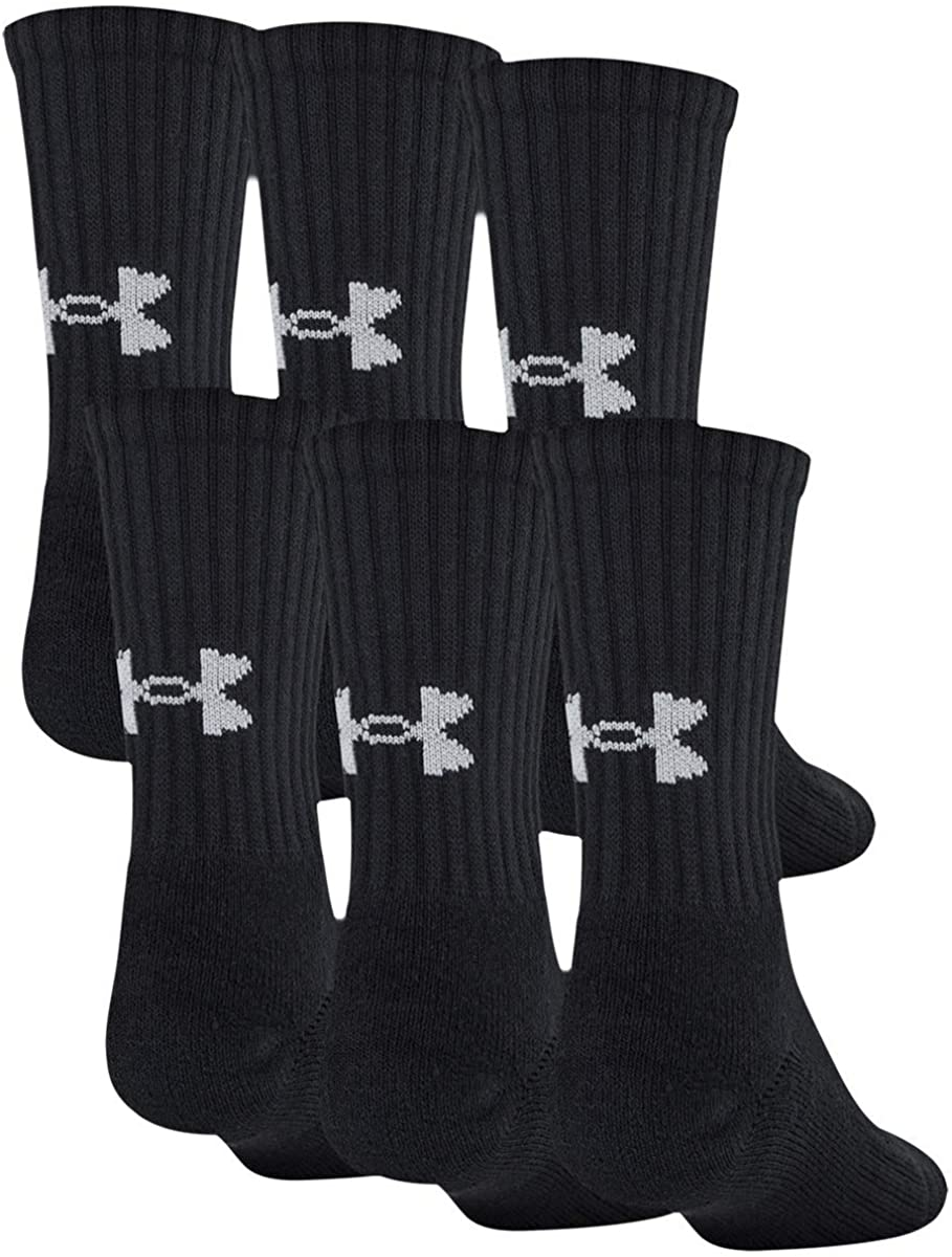 Under Armour Youth Cotton Crew Socks, 6-pairs