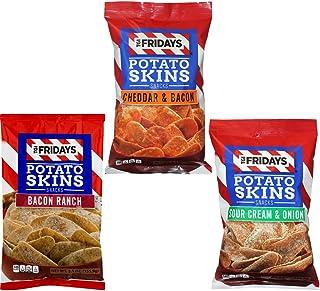 TGI Fridays Potato Skins Snack Chips- 5.5 oz. Bag Variety 3- Pack
