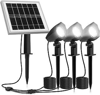 MEIKEE Lampe Solaire Extérieur Blanc Froid 6000K, 3 en 1 Projecteur Solaire Exterieur, Spot Solaire LED Eclairage Extérieu...