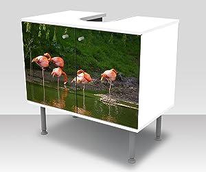wandmotiv24 Badunterschrank Flamencos en una Piscina Diseño baño Armario M1009 Pegar Delante gabinete de la vanidad
