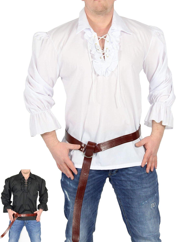 FOXXEO Camisa Pirata Hombre Camisa Blanca Camisa ...